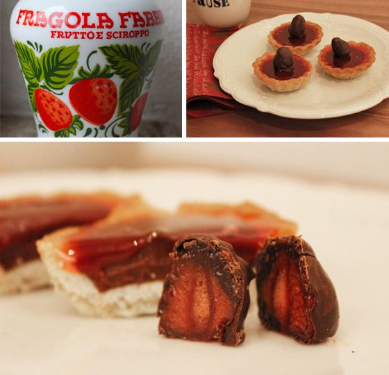 Små tærter med chokoladeganache og variation af jordbær